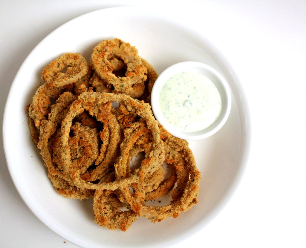 Baked Onion Rings with Basil Cream Sauce
