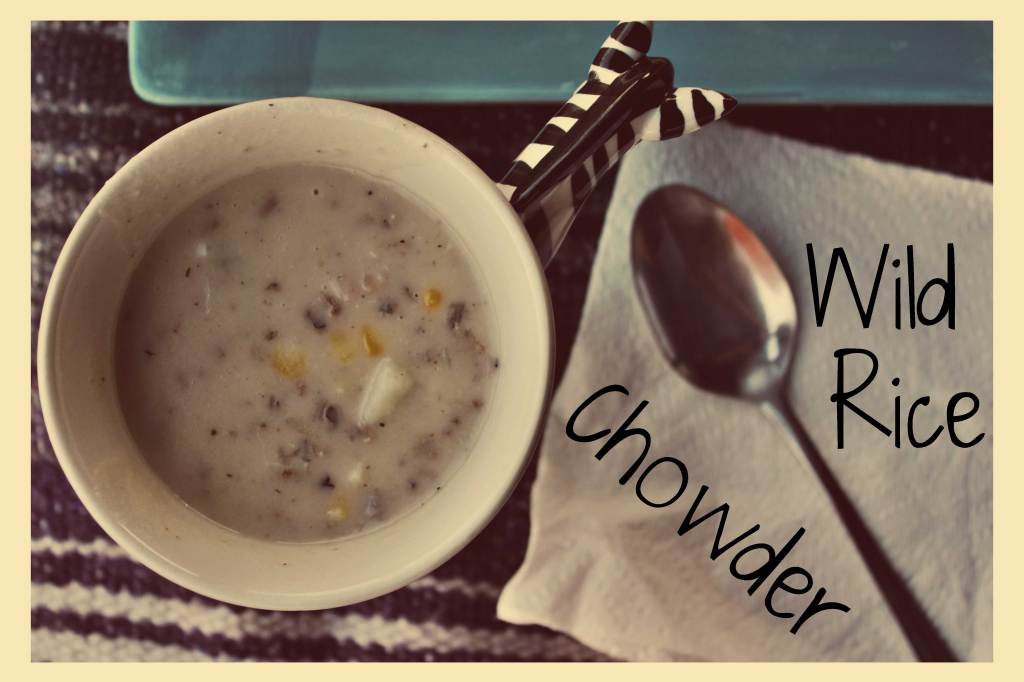 Wild Rice Chowder and Open Faced Grilled Cheese