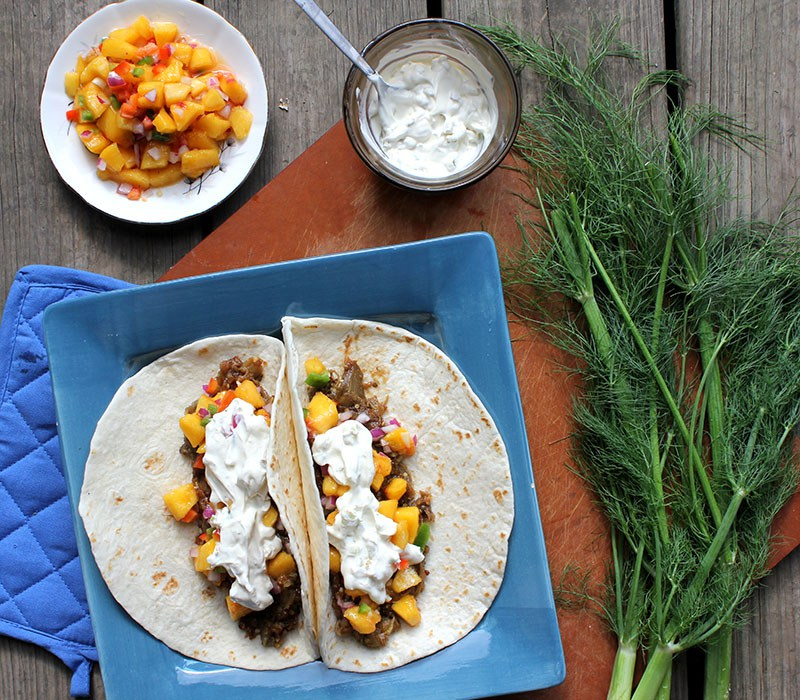 BBQ Eggplant Tacos with Peach Salsa and Fennel Sour Cream