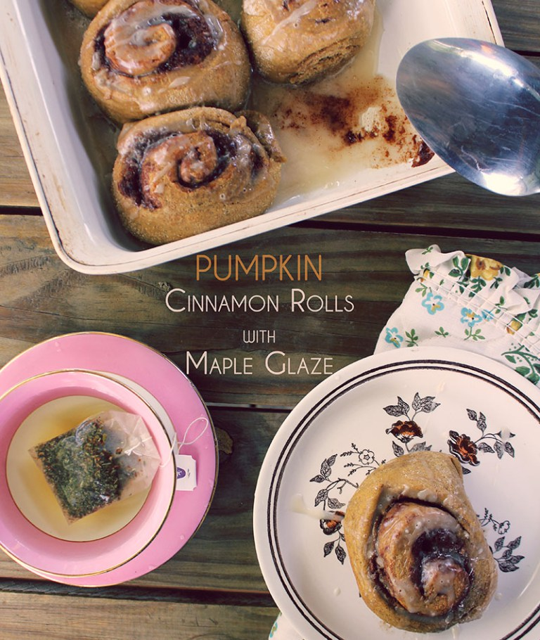 Vegan Pumpkin Cinnanom Rolls with Maple Glaze