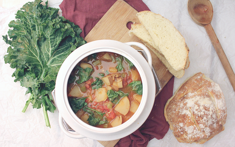 Rosemary & Vegetable Soup with Rustic Bread