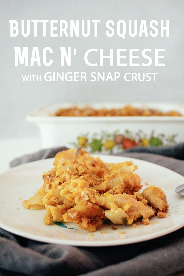 Butternut Squash Mac N' Cheese with Gingersnap Crust