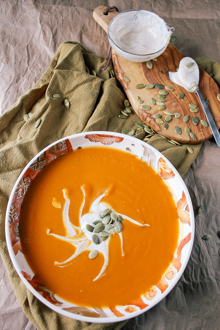 Maple Sweet Potato Soup with All Spice Greek Yogurt