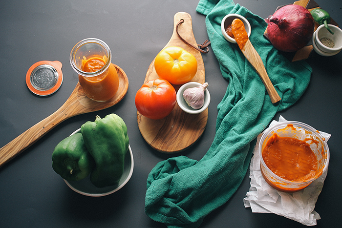 homemade enchilada sauce ingredients laid out on countertop