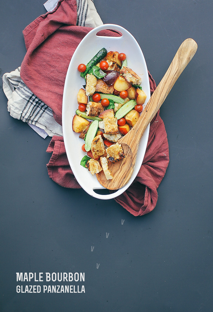Grilled Maple Bourbon Glazed Panzanella Salad