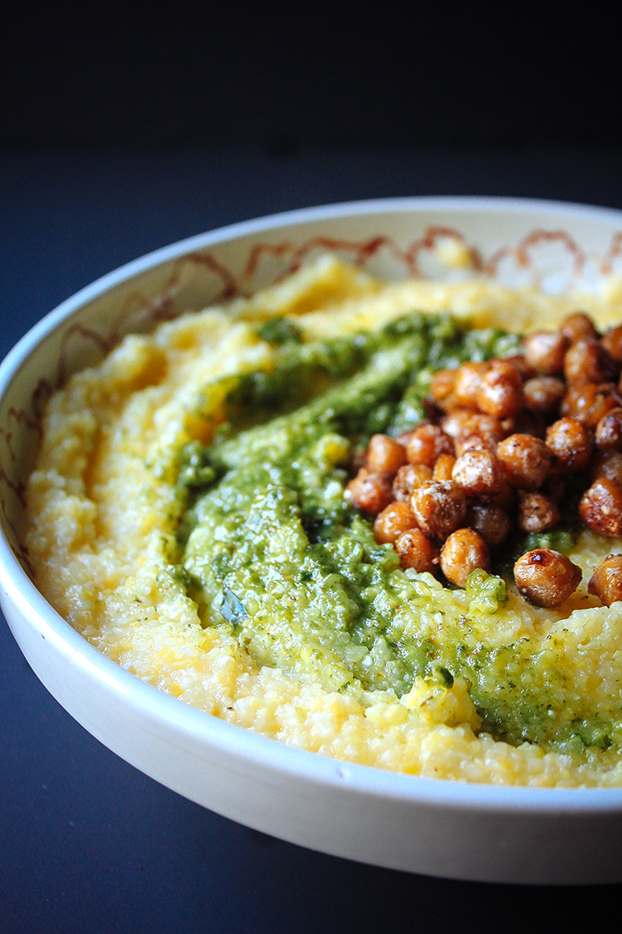 Goat Cheese Polenta with Basil Almond Pesto & Pan Fried Chickpeas [For one]