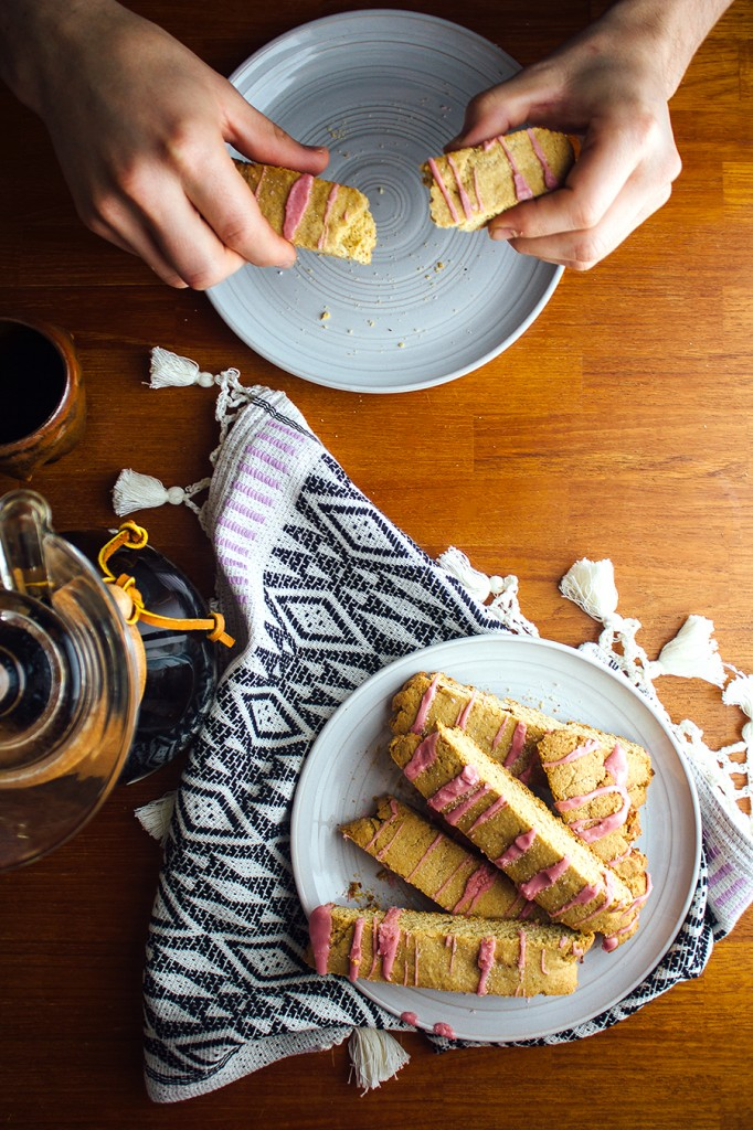 Citrus Biscotti with Hibiscus Glaze