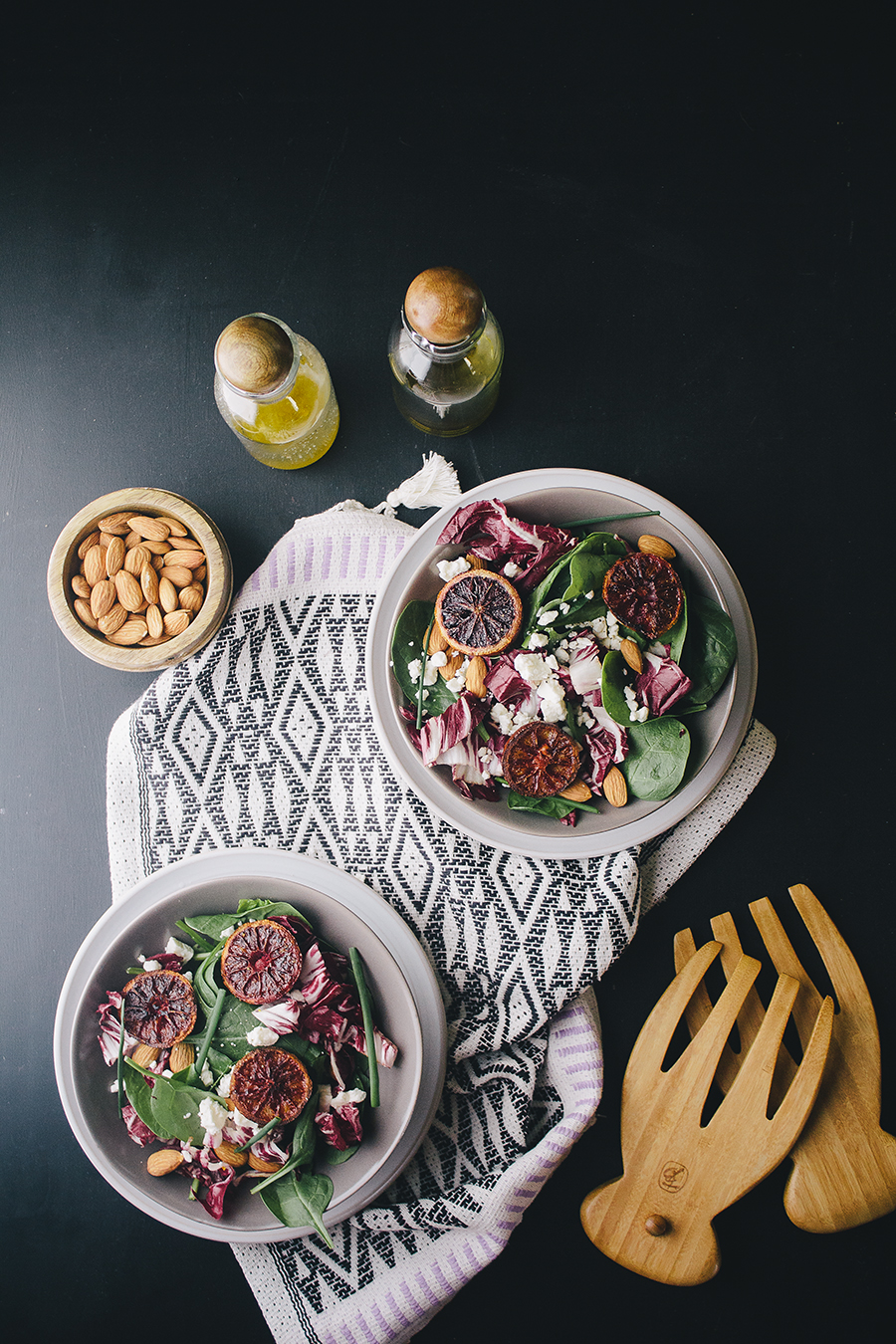 Spinach & Radicchio Salad with Broiled Citrus Vinaigrette