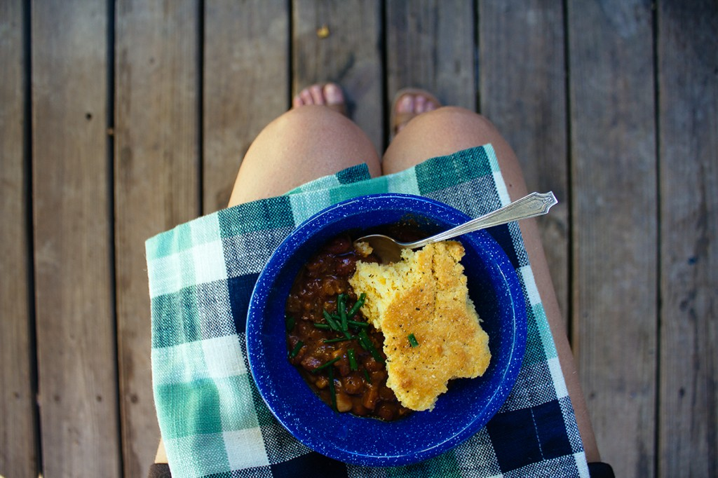 bowl of campfire chili with cornbread topping