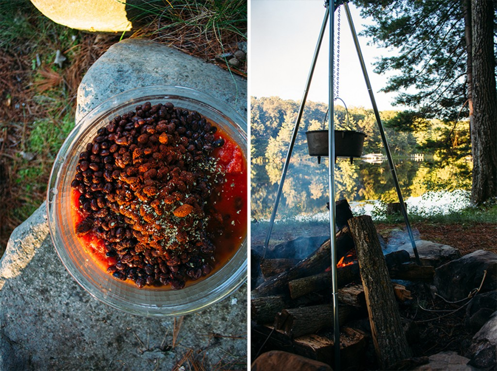 photo collage showing how to make camping chili