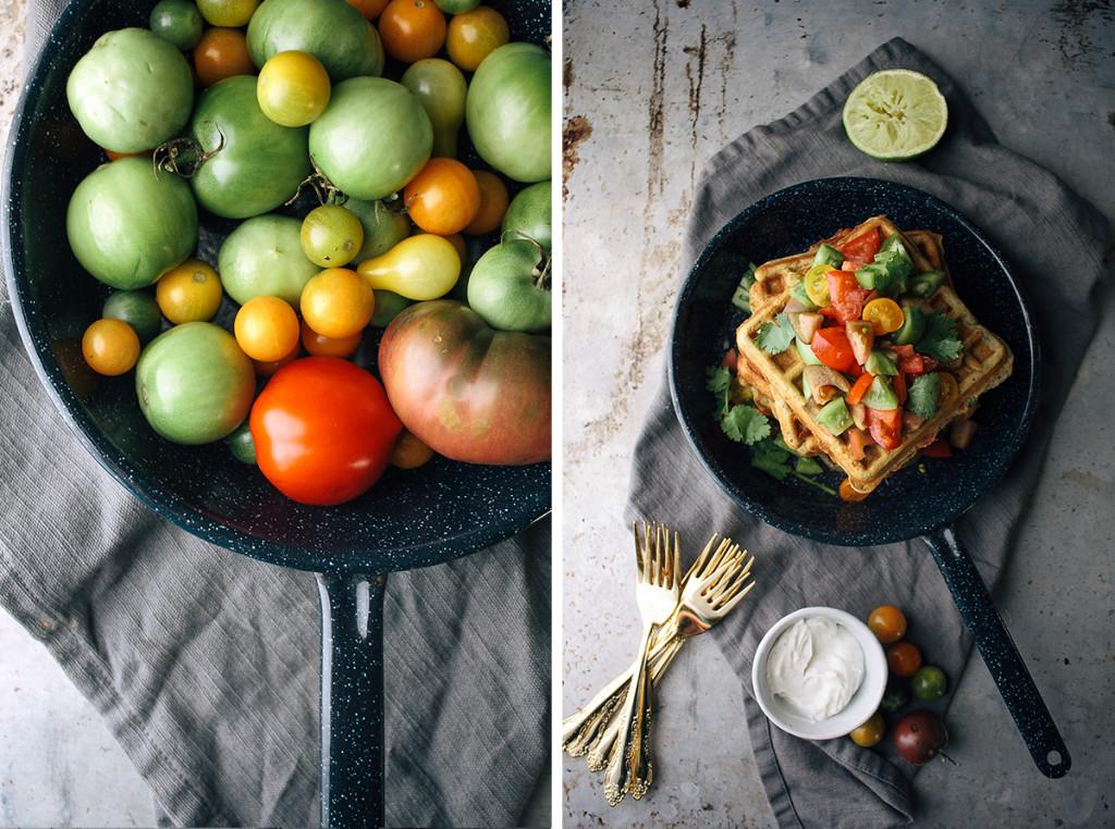 Savory Cheddar & Cornmeal Waffles With Green Tomato Salsa & Cumin ...