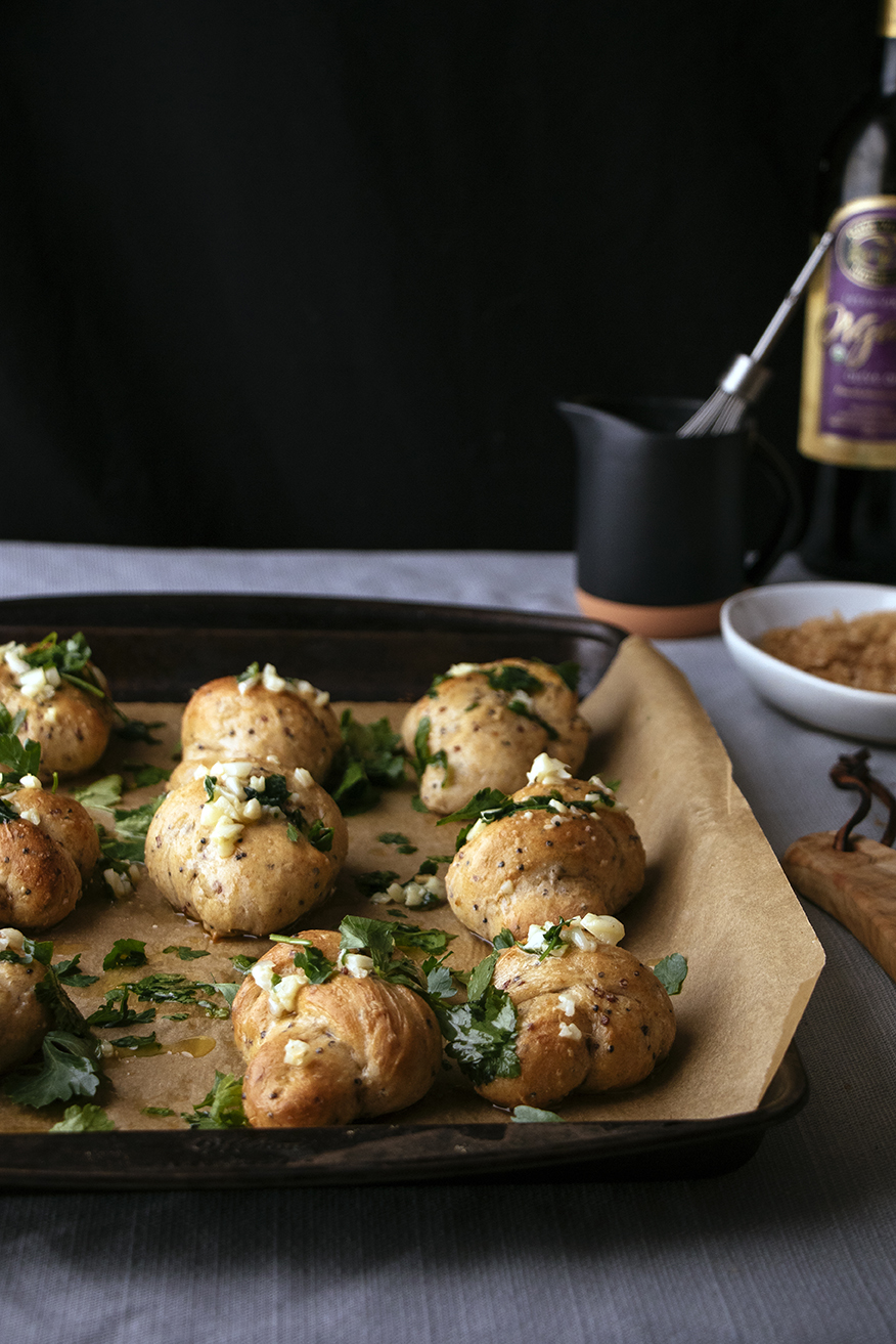 Multi-Grain Knots 2 Ways: Parsley-Garlic & Cinnamon-Whiskey Sugar