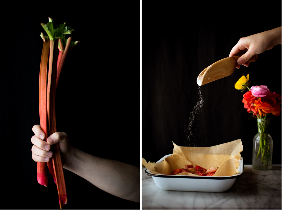 photo collage showing woman holding rhubarb stalks and woman sprinkling sugar into baking tray