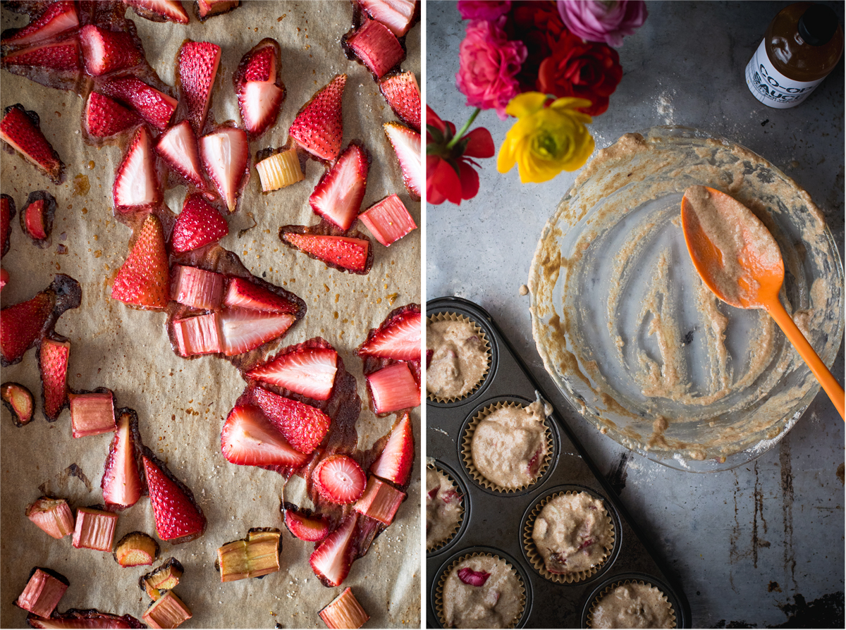 photo collage showing roasted fruit on baking tray and empty bowl with residual muffin batter in it