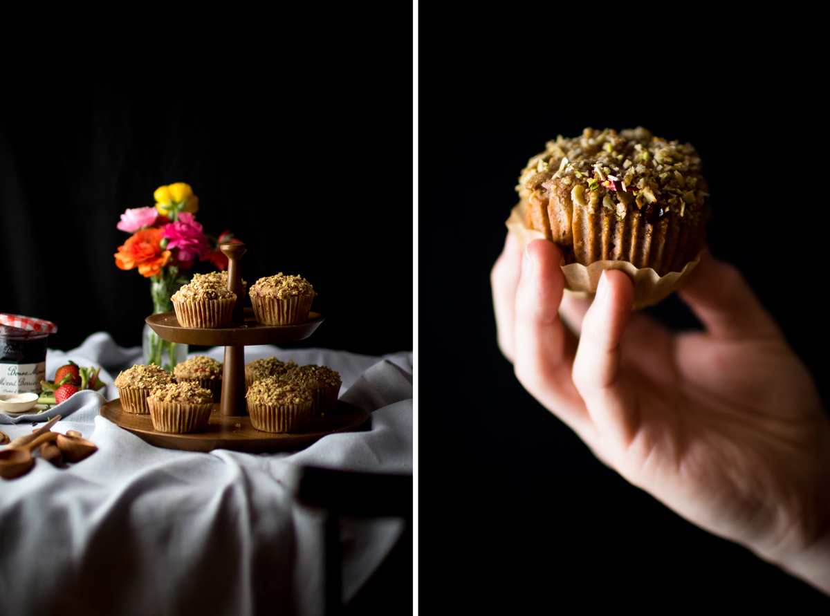 photo collage showing strawberry rhubarb muffins on wood cake stand next to hand holding a muffin