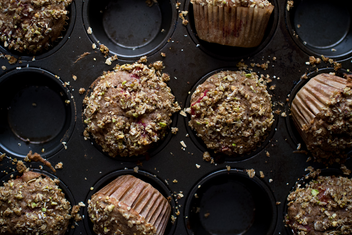 Roasted Strawberry Rhubarb Breakfast Muffins With Pistachio Crumb Topping