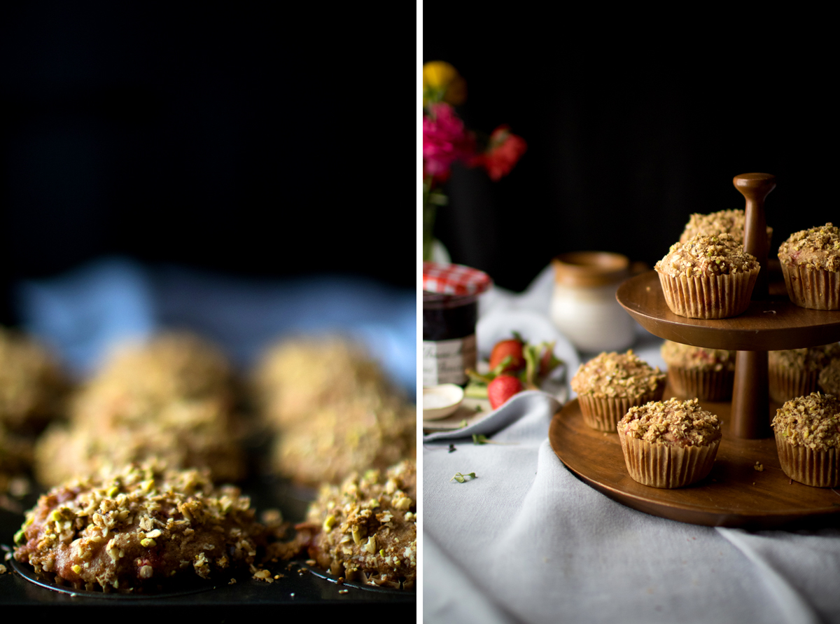 photo collage showing strawberry rhubarb muffins in baking tin and on wood cake stand