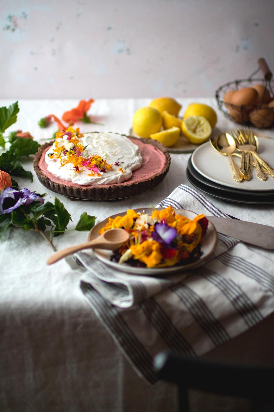 hibiscus lemon curd tart with edible flowers
