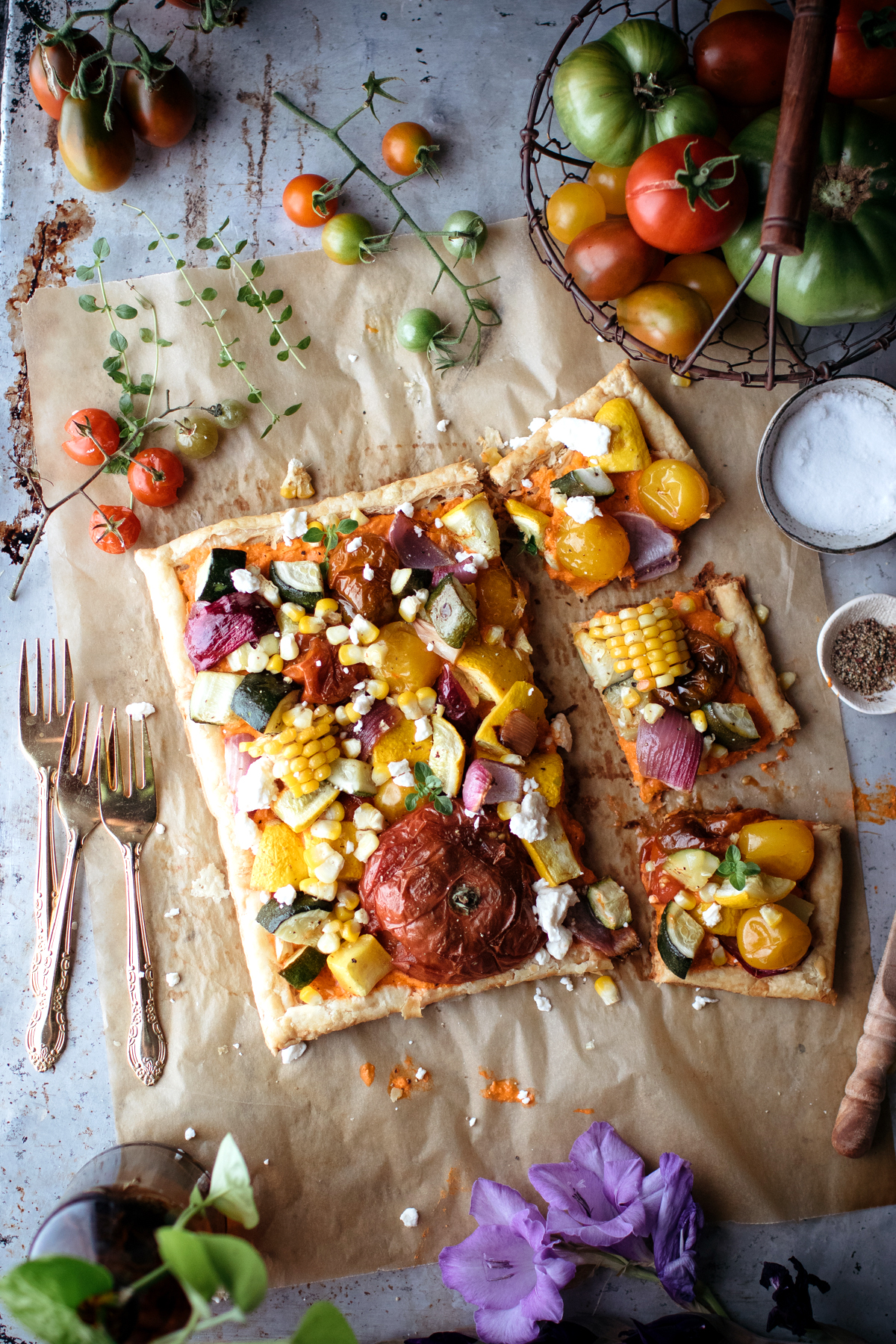 Vegetarian Garden Tart With Roasted Red Pepper & Feta Spread Recipe