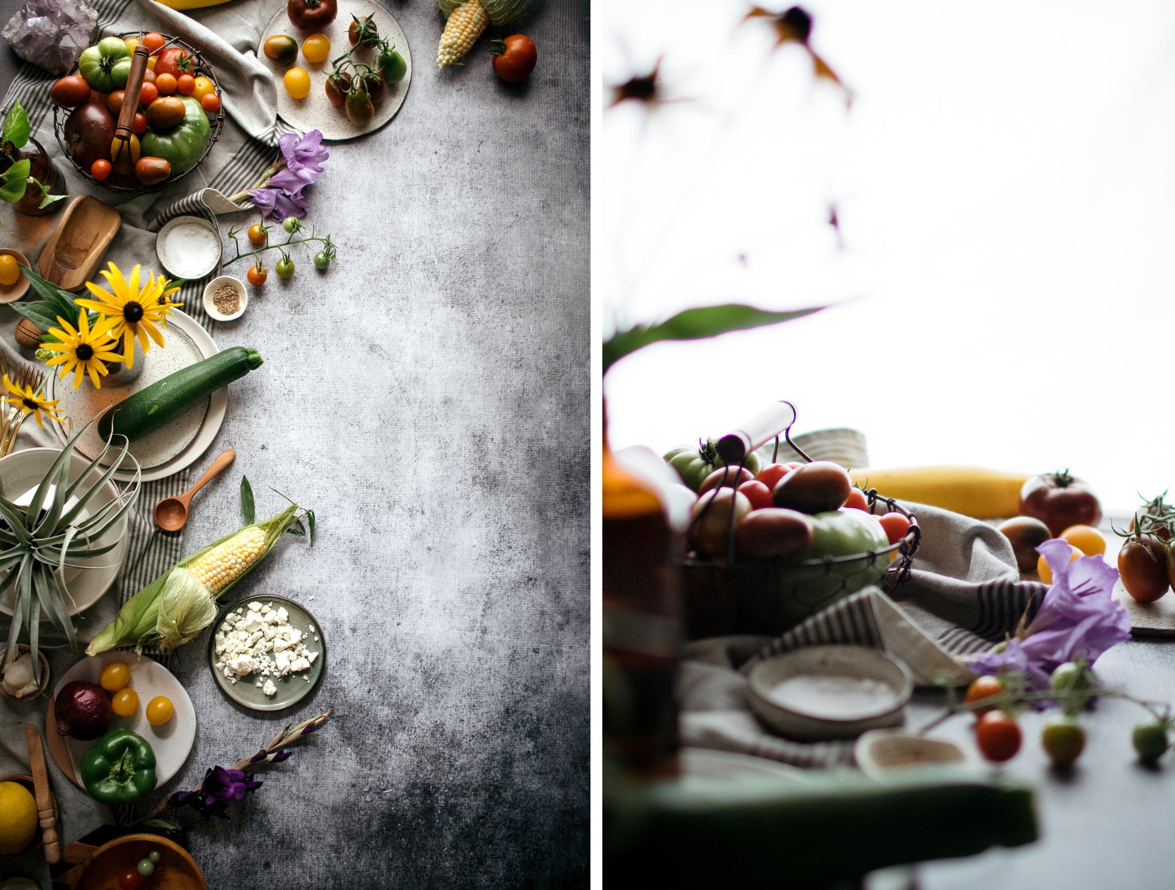Vegetarian Garden Tart With Roasted Red Pepper & Feta Spread Recipe