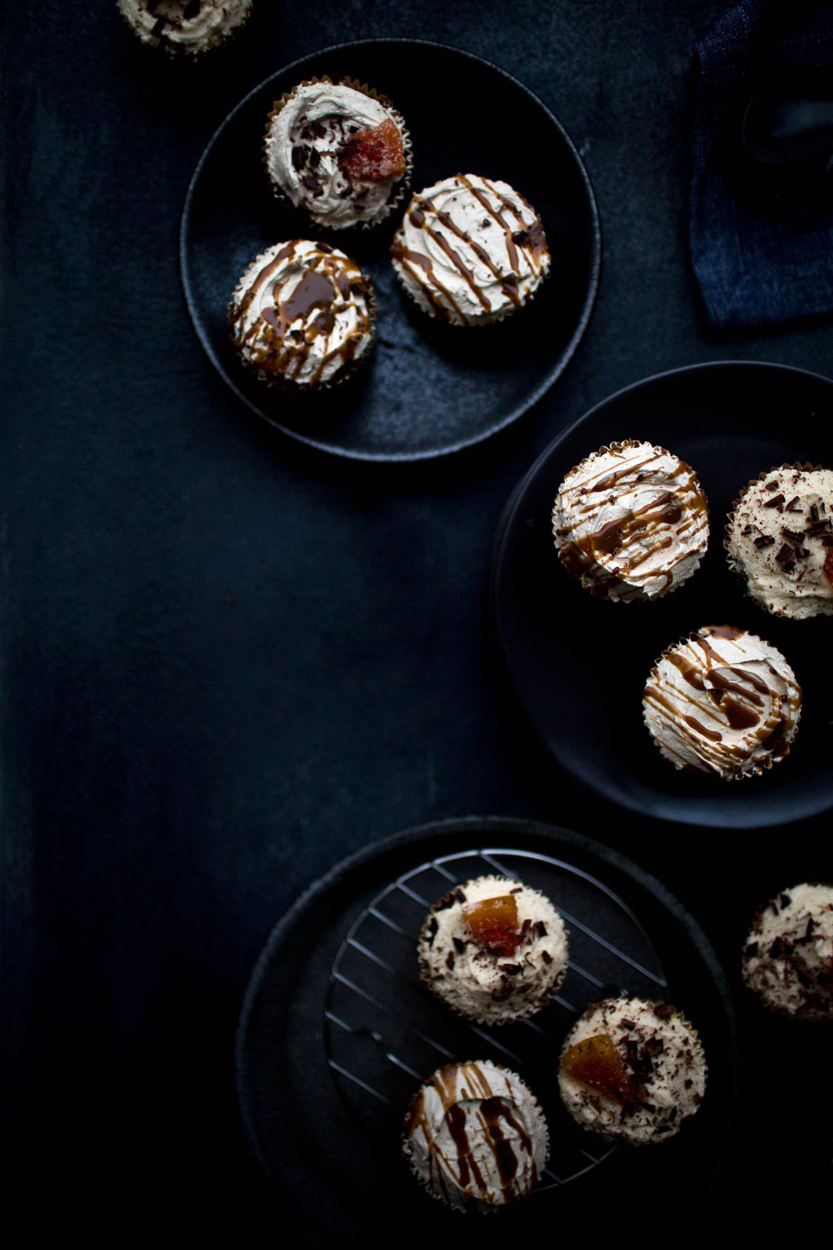Vegan Chocolate Grapefruit and Dulce de Leche Cupcakes