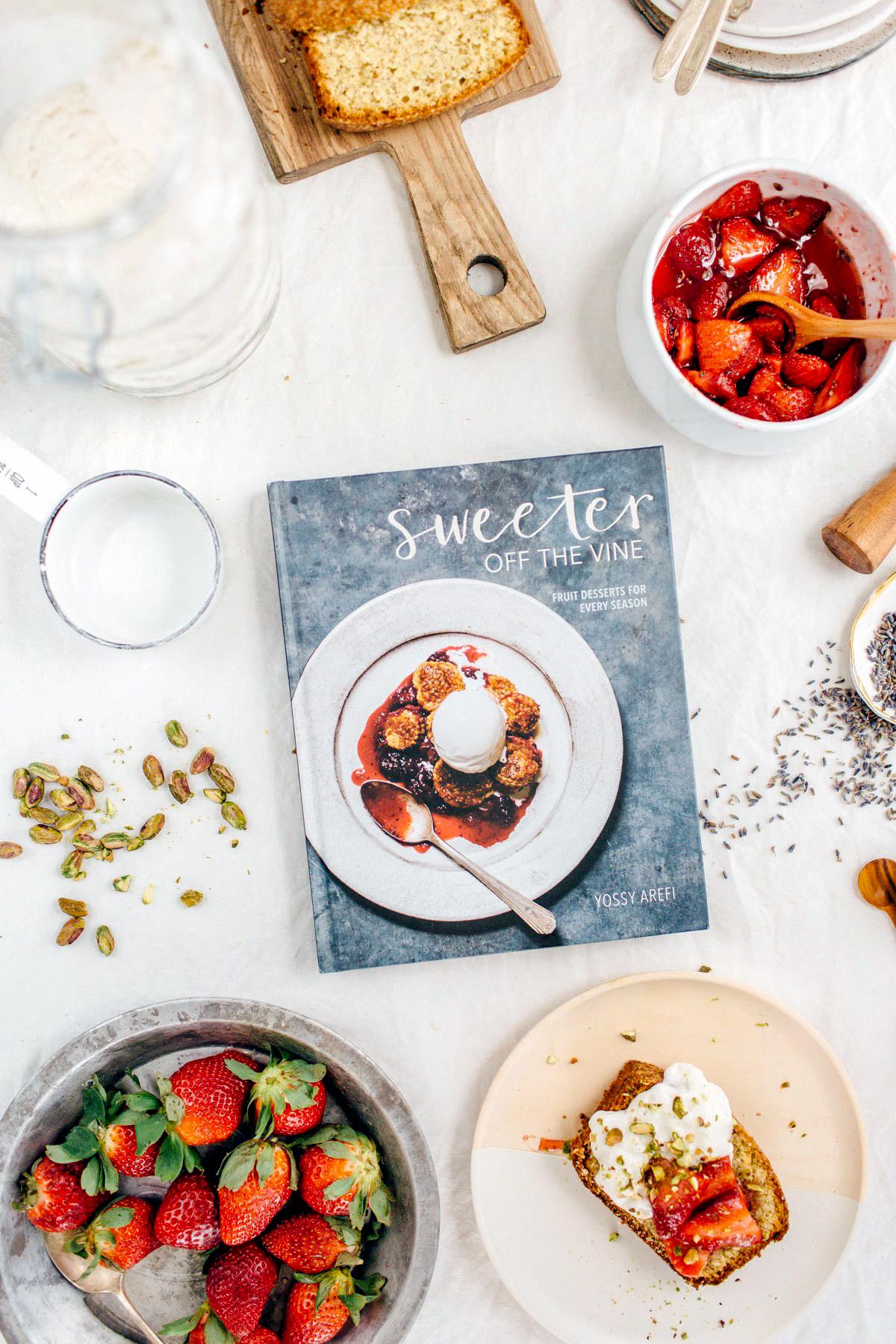 Pistachio Pound Cake with Strawberries in Lavender Sugar
