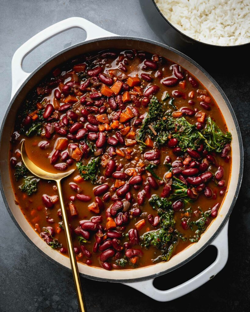 overhead of red beans and rice