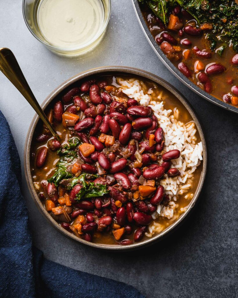 overhead of red beans and rice in serving bowl