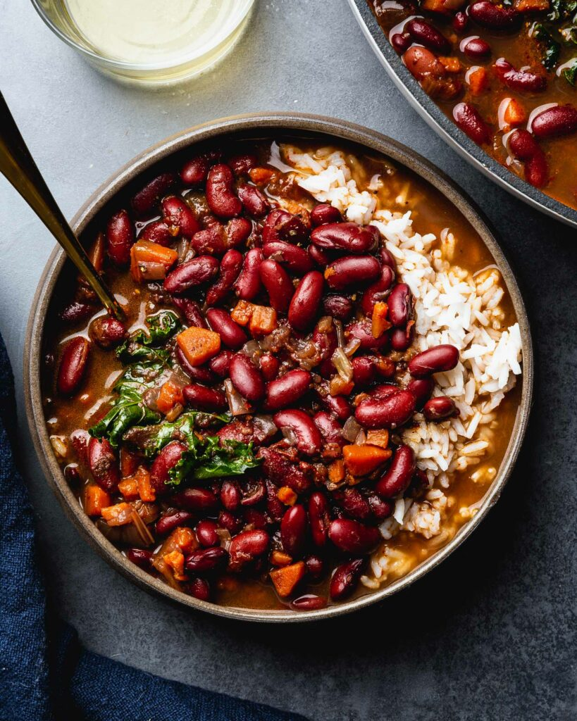 vegetarian red beans and rice ready to serve