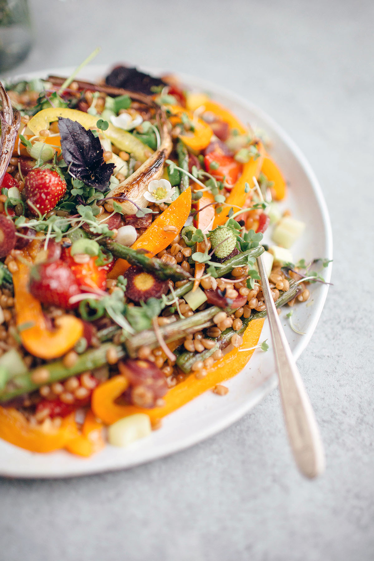 wheat berry salad on white serving plate