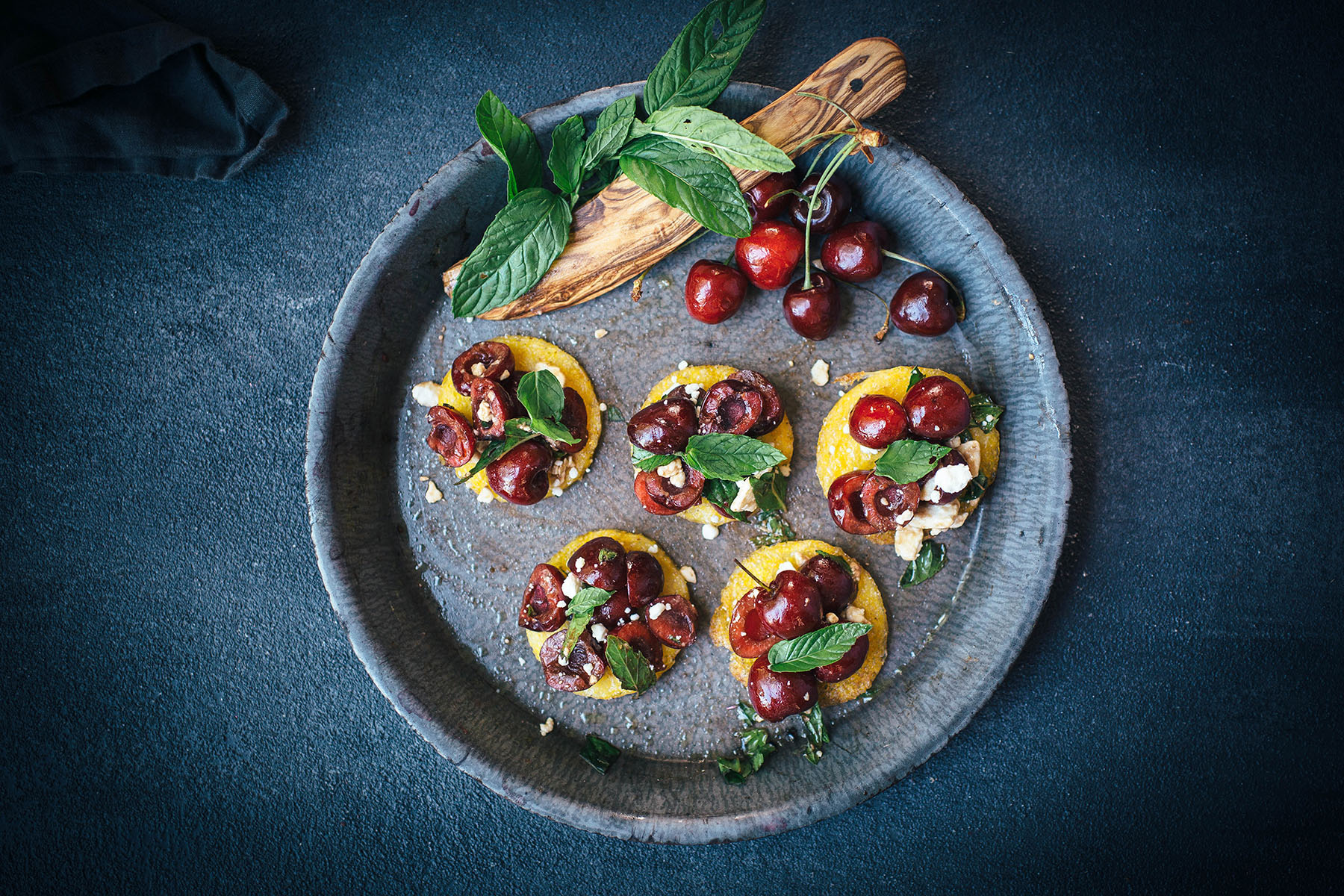 Cherry Mint Polenta Bruschetta