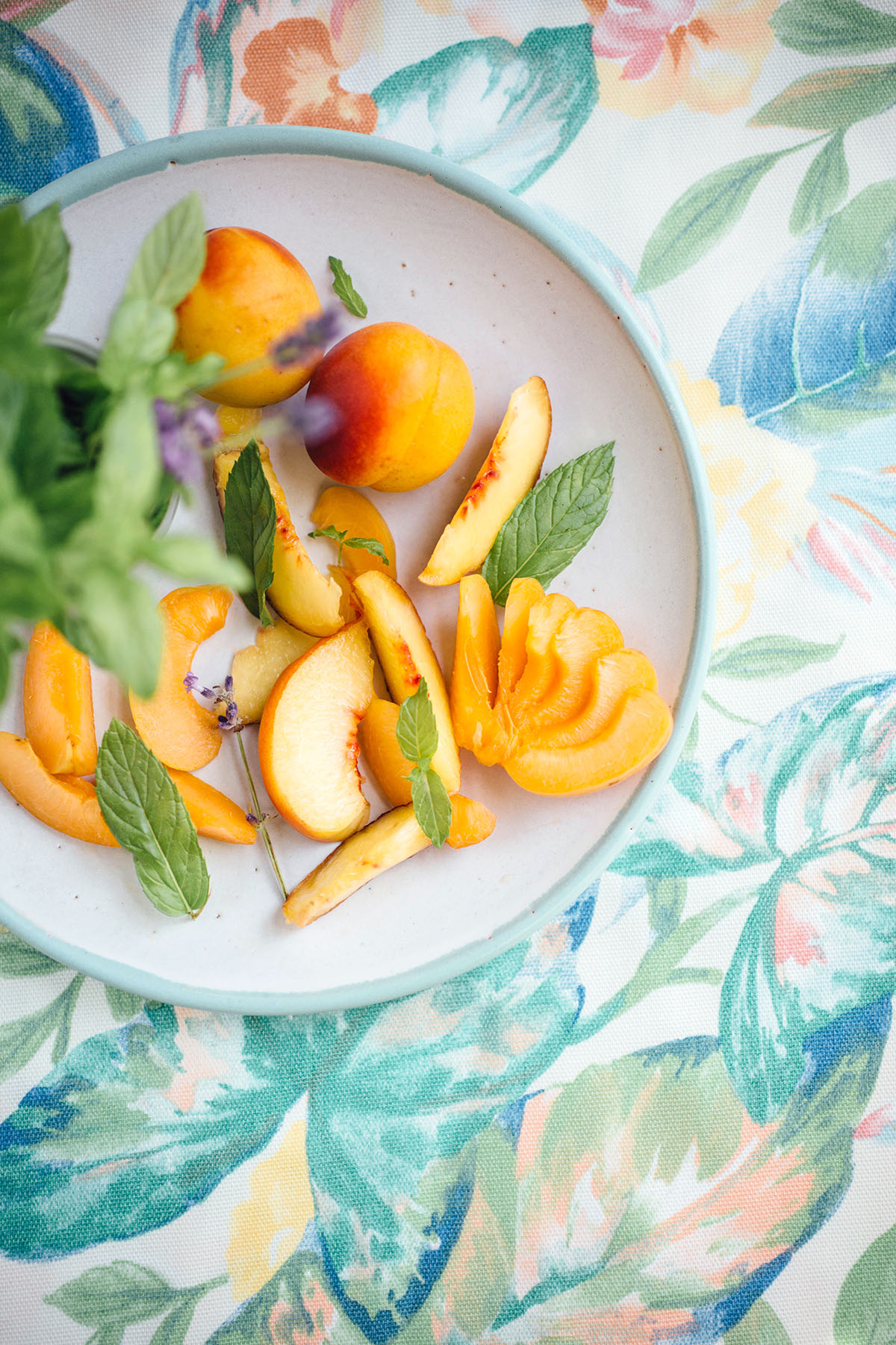 Corn Mint Fritters with Lavender Peaches