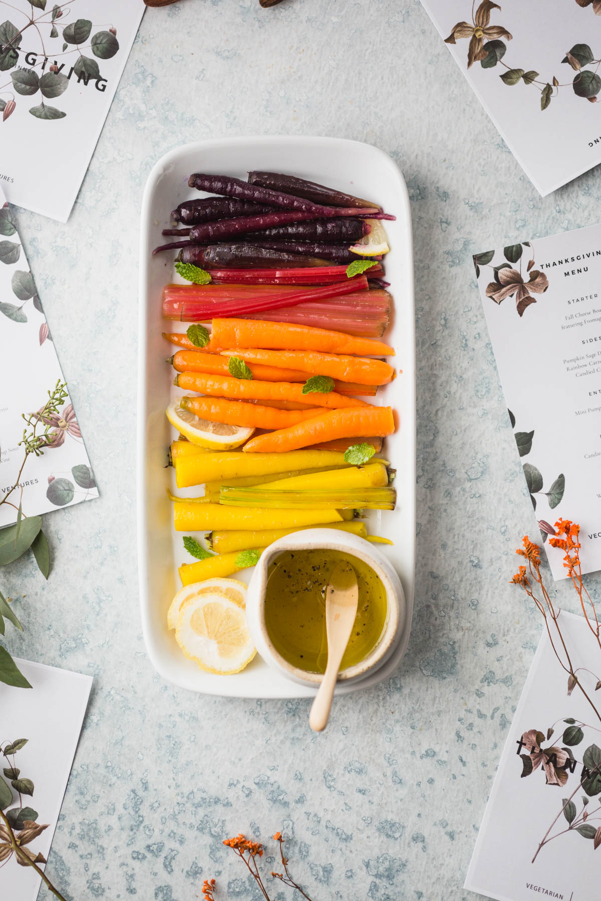 Vegetarian Thanksgiving Side Dish: Rainbow Carrots and Chard