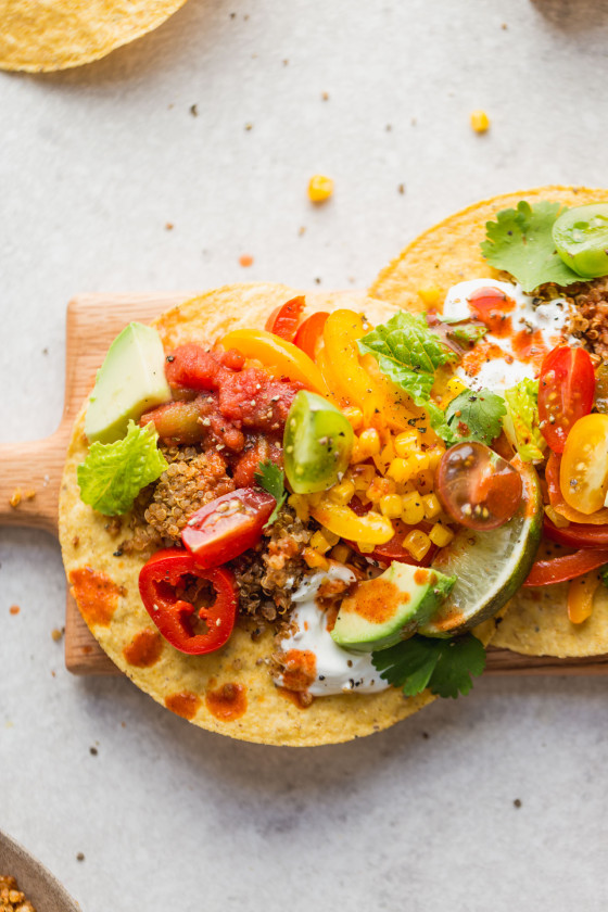 Vegetarian Quinoa Taco Meat Tostadas recipe