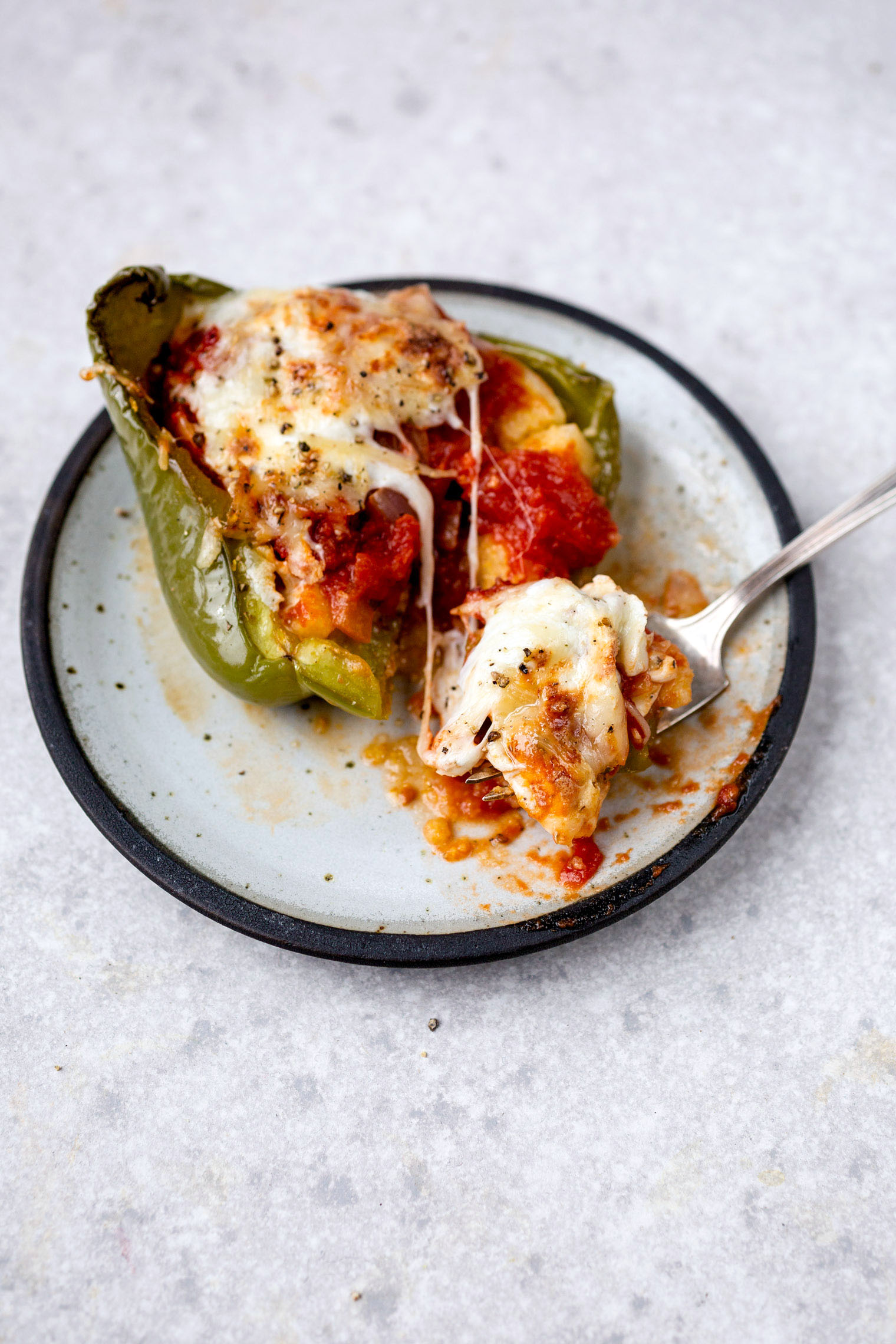 Vegetarian Polenta Pizza Stuffed Peppers