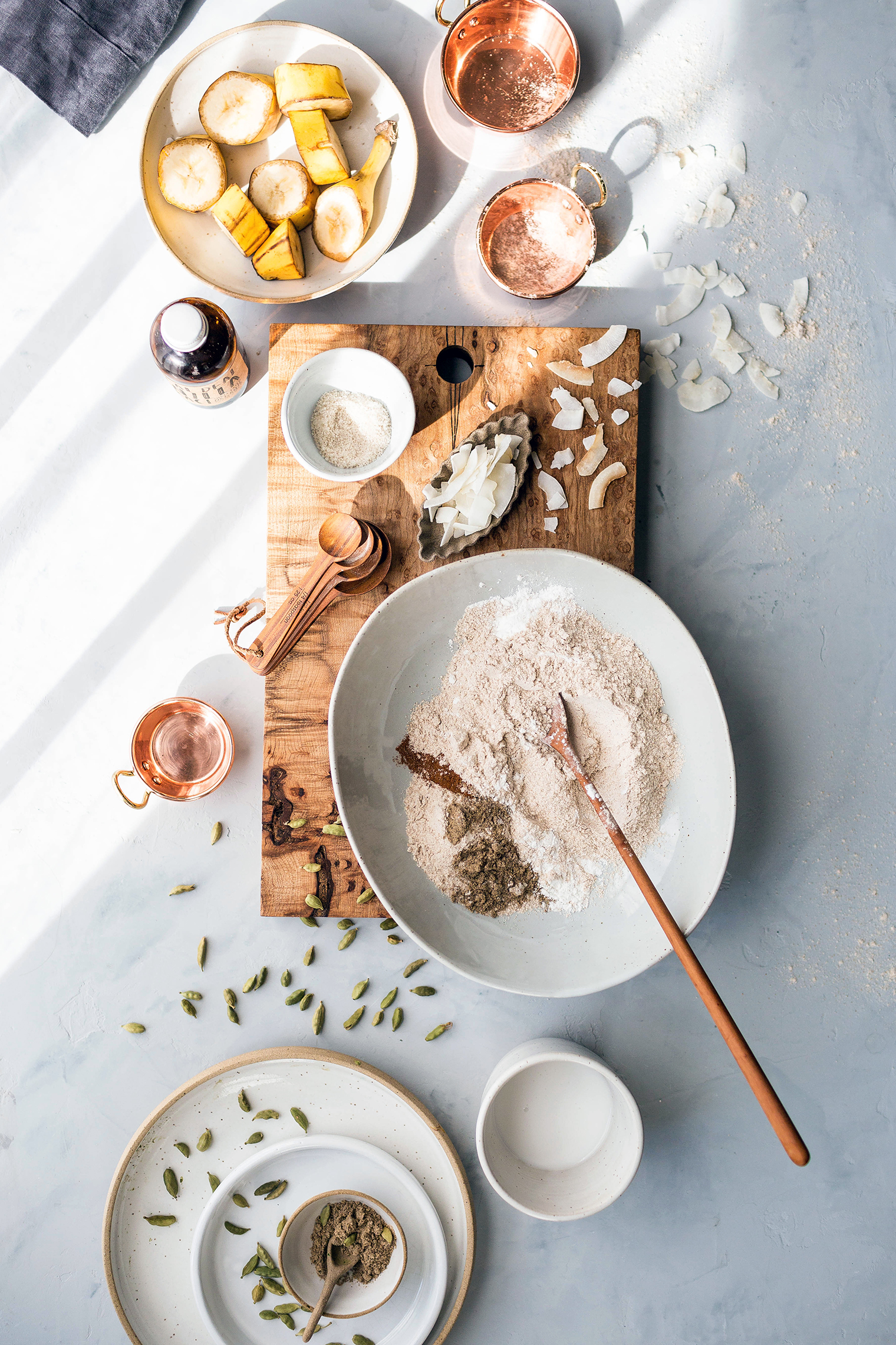 ingredients for healthy banana pancakes laid out on countertop