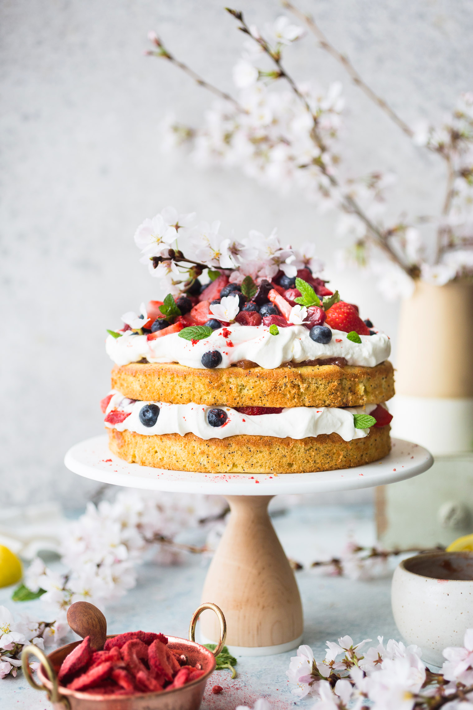 Berries and Cream Cake with Strawberry Rhubarb Marmalade