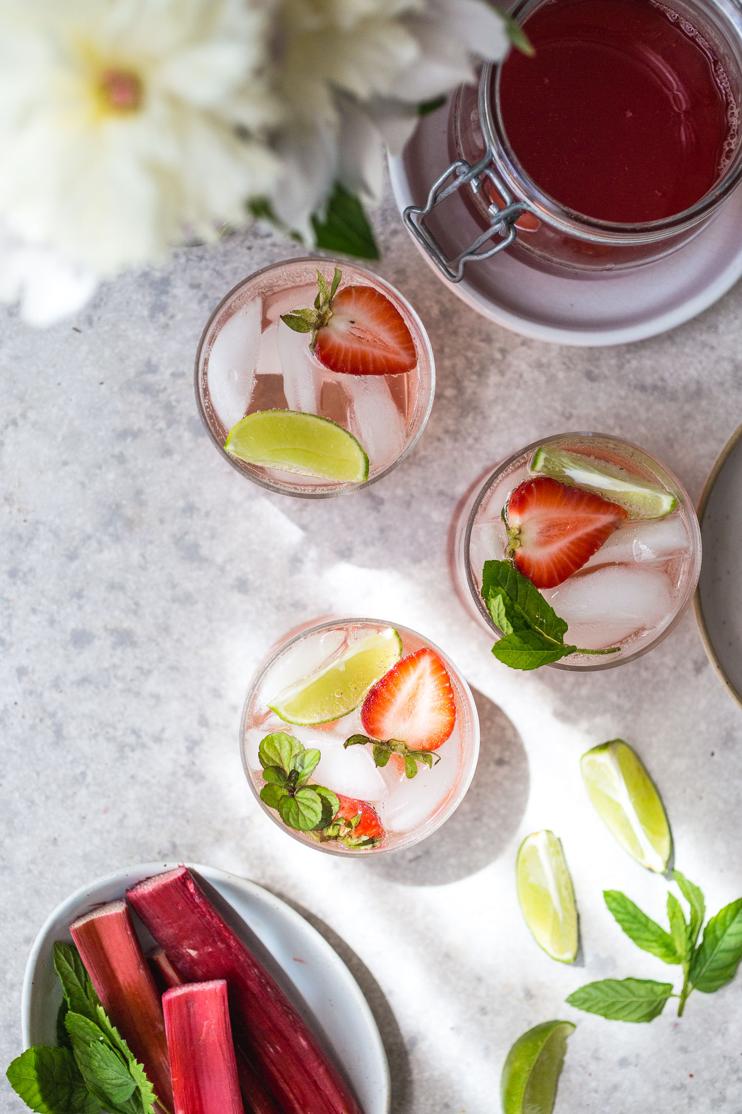 Strawberry Rhubarb Gin & Tonic