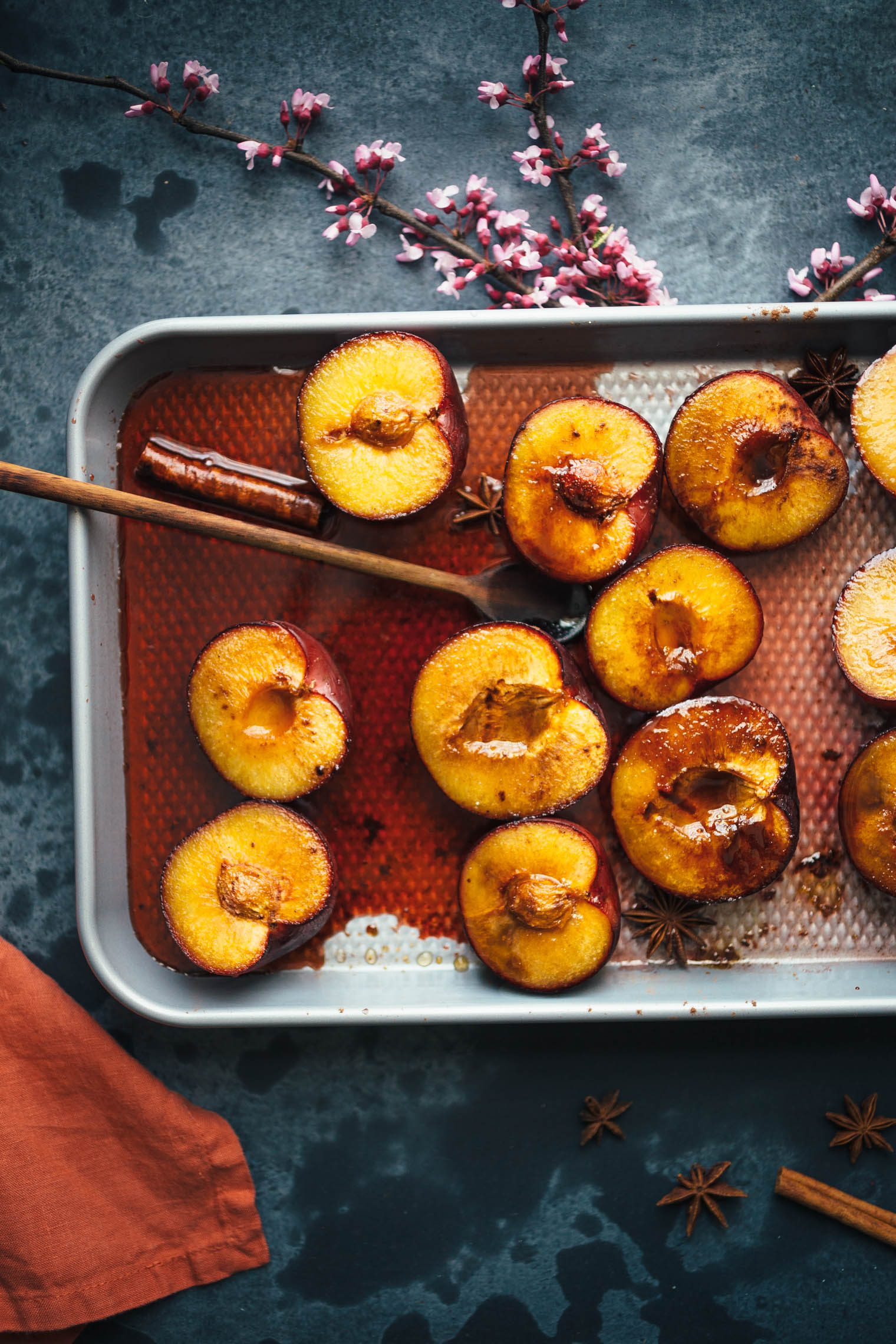 Vegan Breakfast Polenta with Rose-Roasted Plums