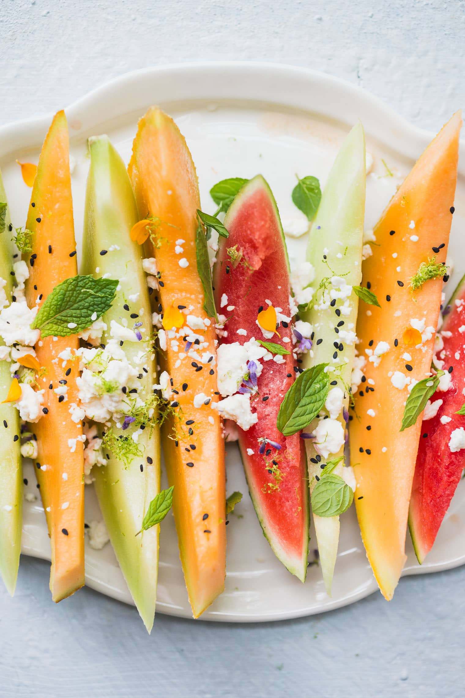 Mint Feta Lime Melon Salad