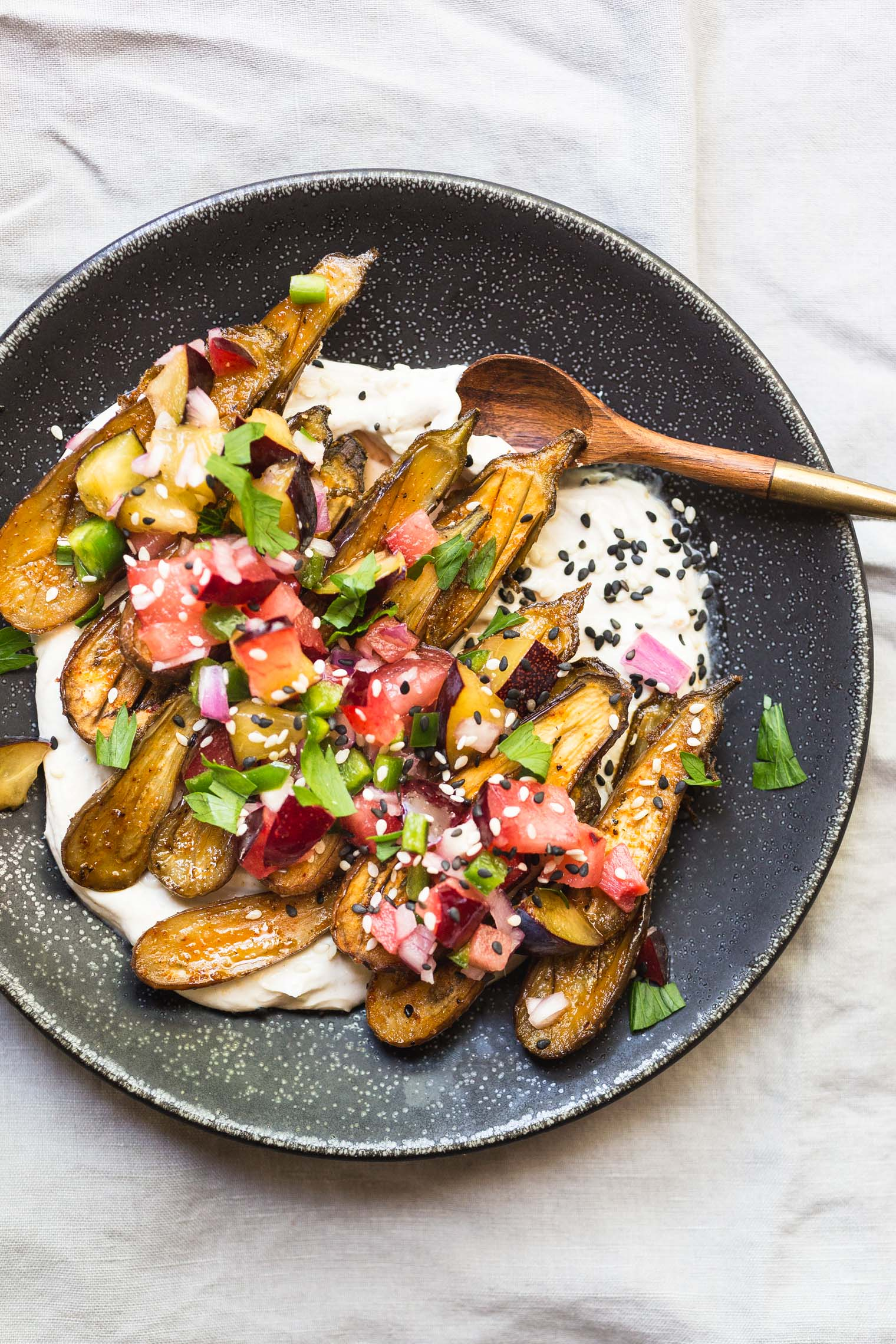 Roasted Miniature Eggplant with Tahini Yogurt and Plum Salsa