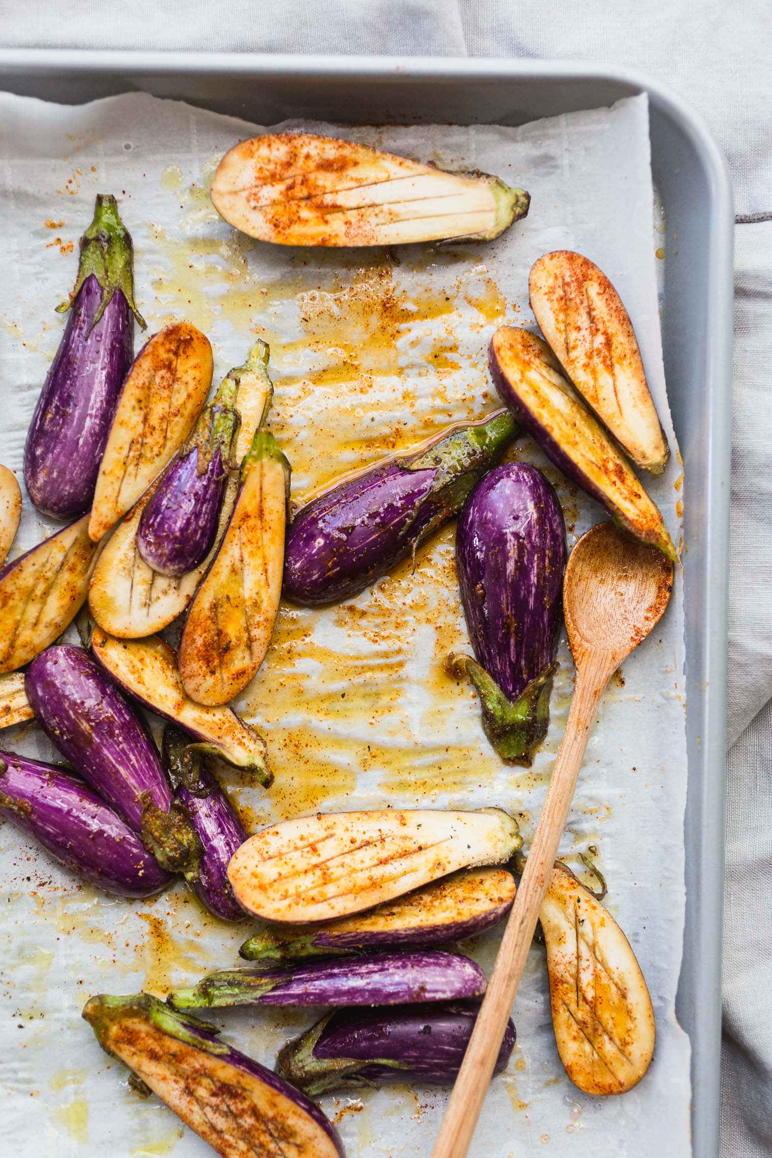 Roasted Miniature Eggplant with Creamy Tahini and Plum Salsa
