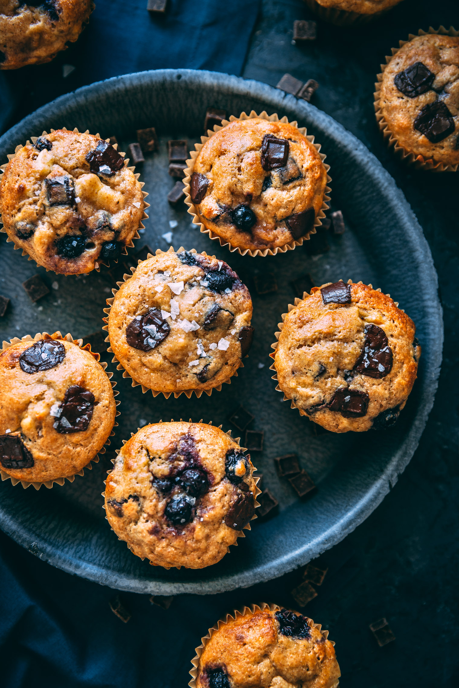 One Bowl Chocolate Chip & Blueberry Banana Bread Muffins