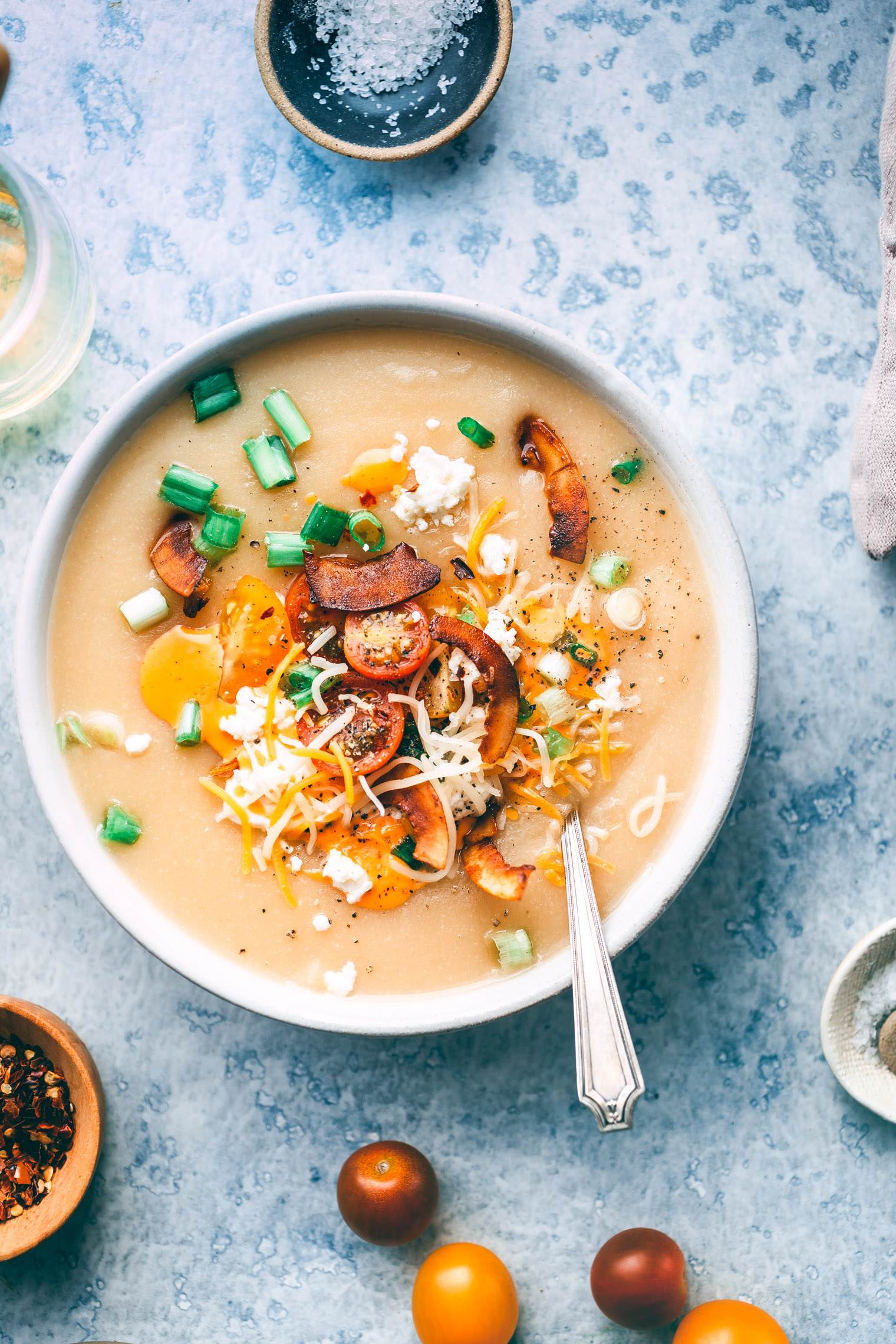 Loaded Baked Potato & Cauliflower Soup with Coconut Bacon