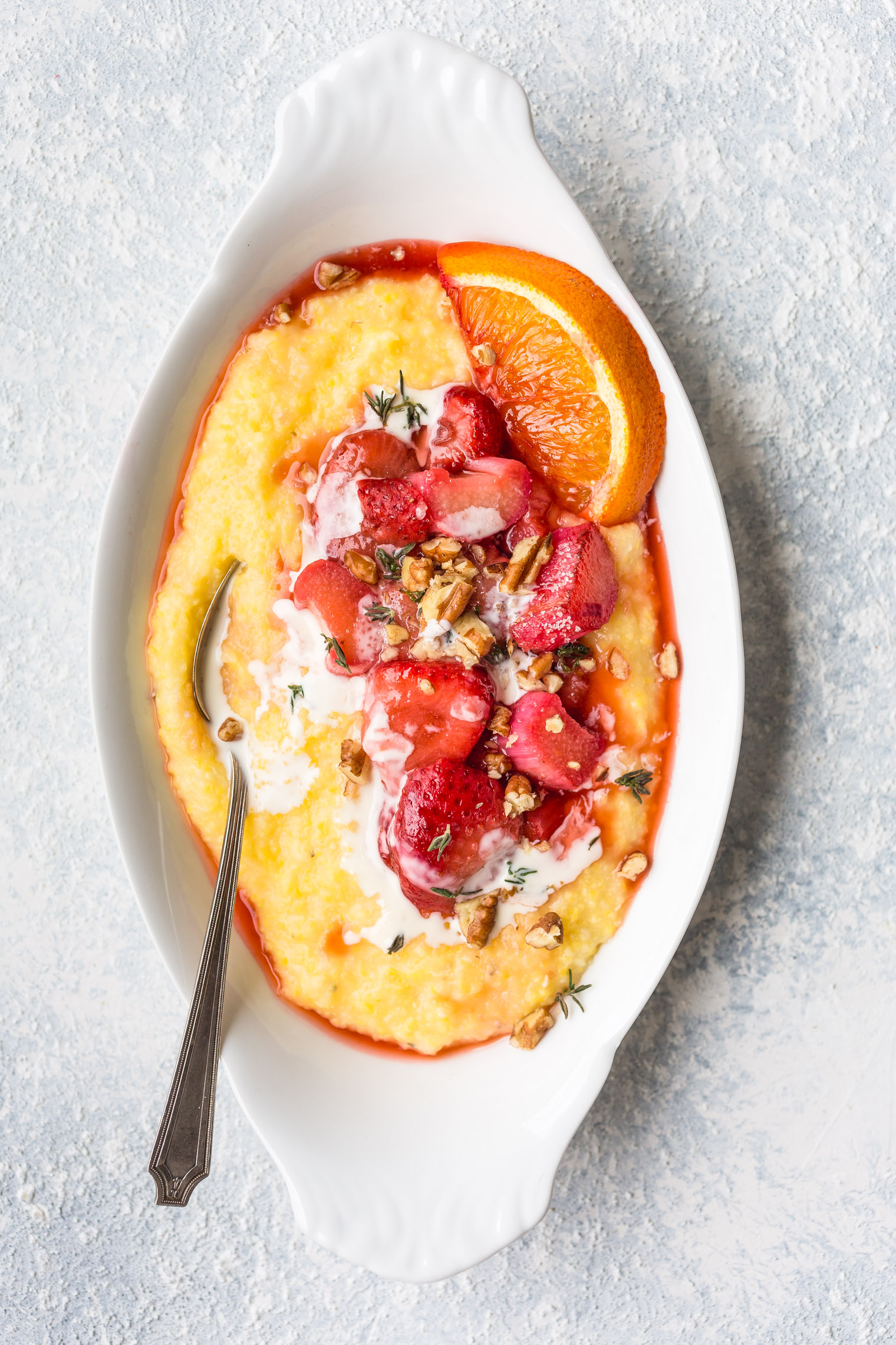Roasted Strawberry and Rhubarb Grits with Toasted Pecans