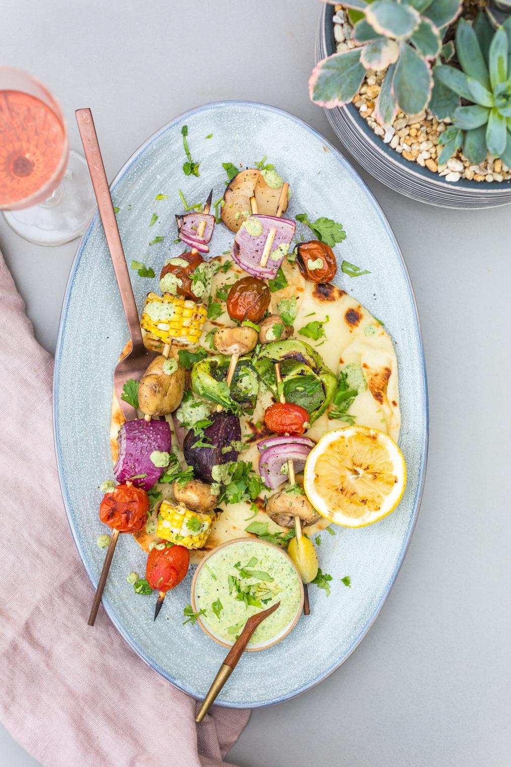 Grilled Veggies with Cilantro Yogurt Sauce & Grilled Pita