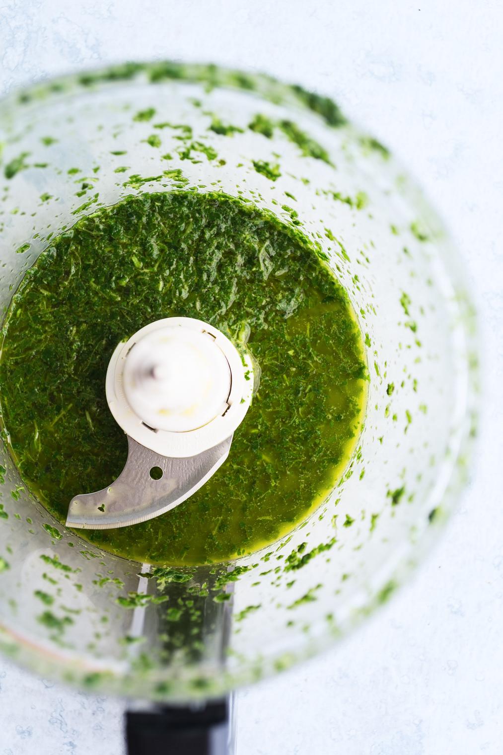 basil oil in food processor