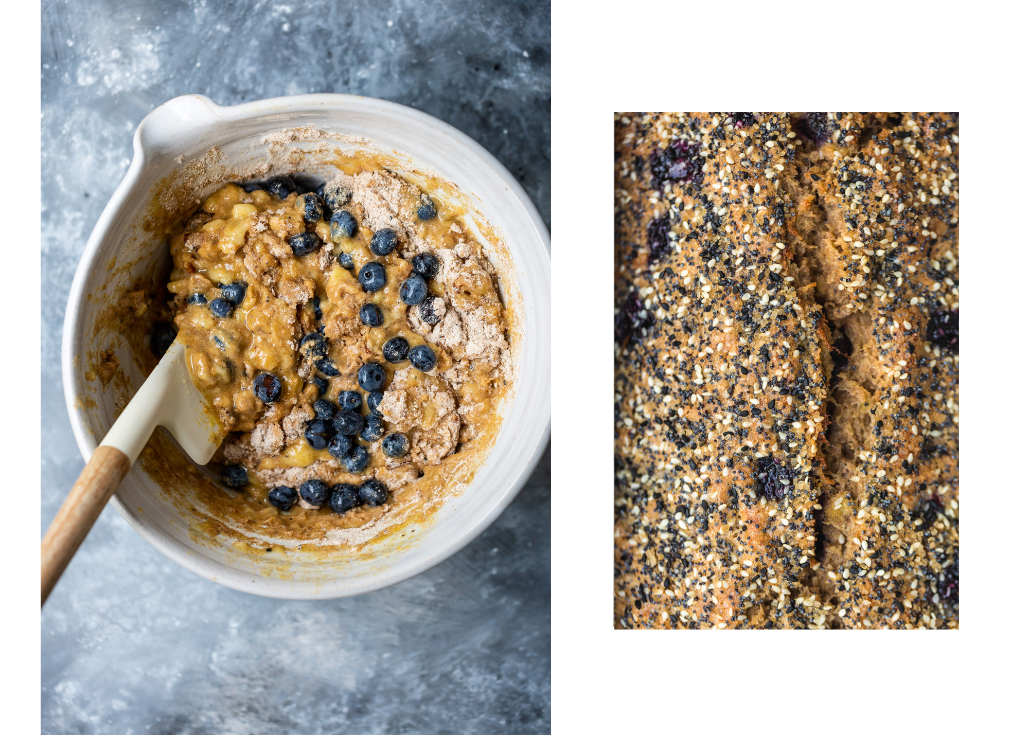 photo collage showing blueberry banana bread batter and baked loaf