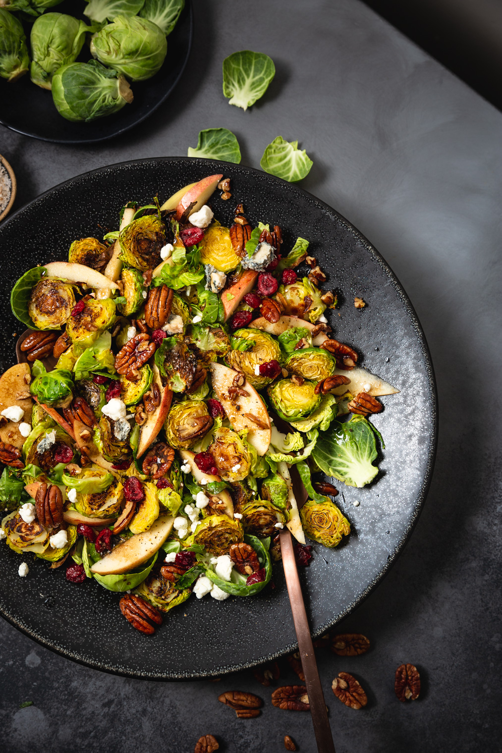 Roasted Brussels Sprouts Salad with Maple-Balsamic Vinaigrette