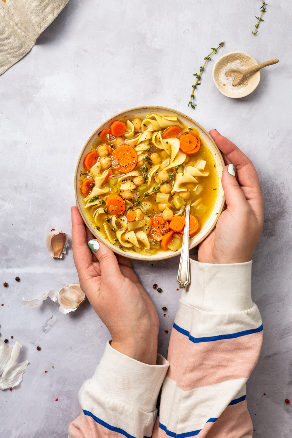 Easy Vegetarian Chickpea Noodle Soup Recipe